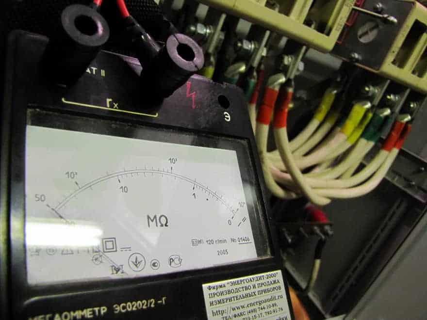 Измерение сопротивления изоляции электропроводки.